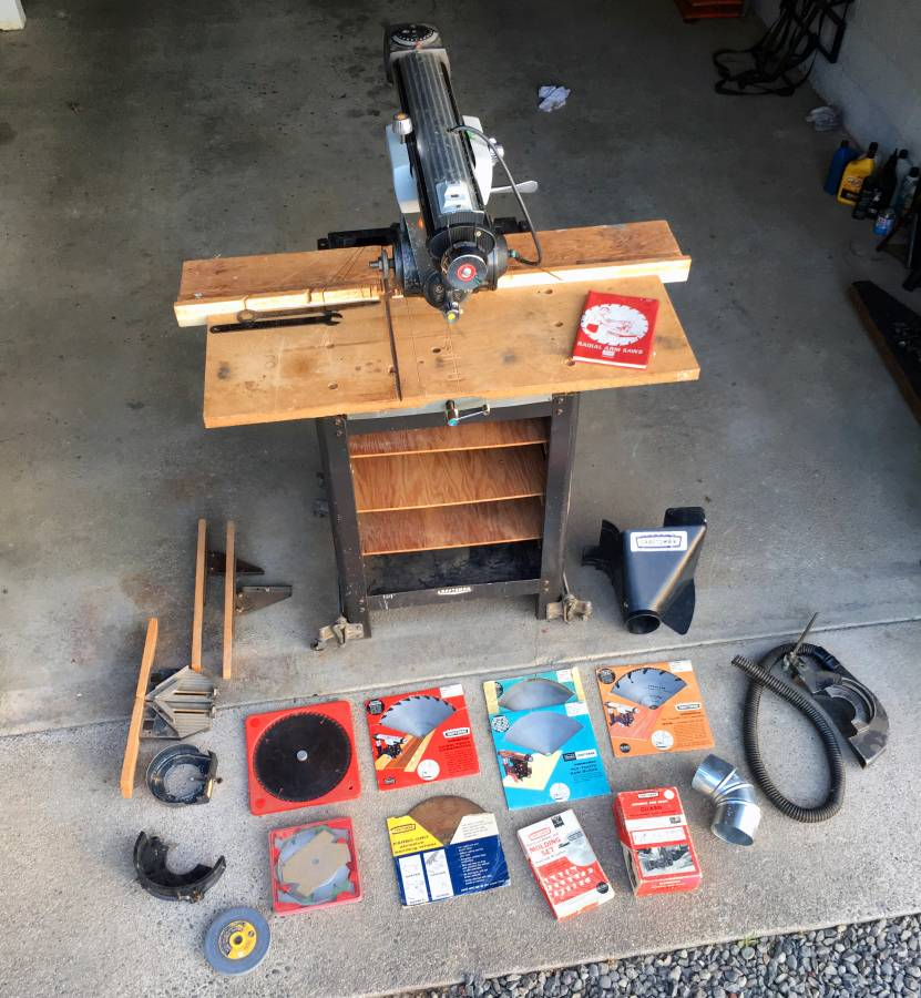 Mobile Radial Arm Saw + Many supplies