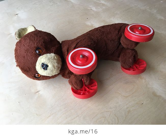 Vintage Knickerbocker Ride on Toy Bear with Wheels - #Cjn4DVYsml0-1